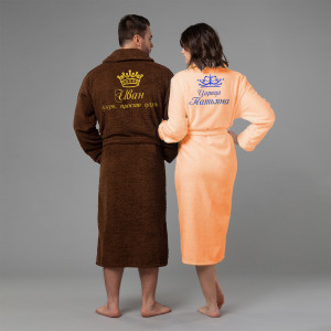 Комплект халатов с именной вышивкой Царь и Царица (коричневый и персик) ни царь ни царица