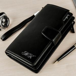 Портмоне-клатч Премиум Блэк с инициалами кошелек портмоне блэк ориджинал