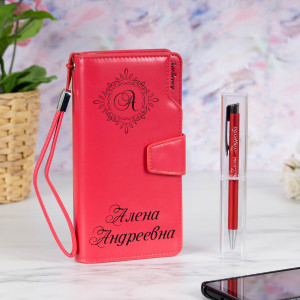 Набор портмоне с ручкой Престиж именной цена