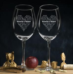 Фото - Комплект именных бокалов для вина Сердце комплект из 4 бокалов для воды с пузырьками на дне galio