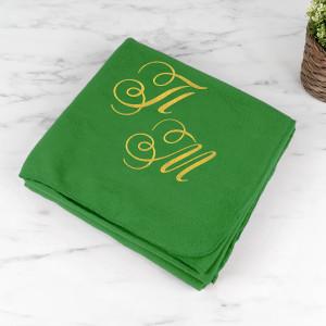 """Плед с вышивкой """"Инициалы"""" (зелёный)"""