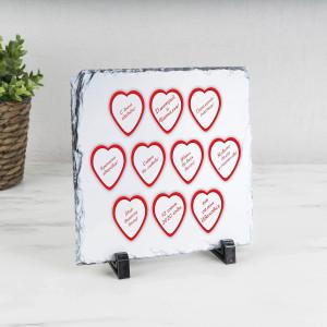 Фото - Именное панно «Сердца с пожеланиями» (природный камень) именное панно одна любовь на двоих природный камень