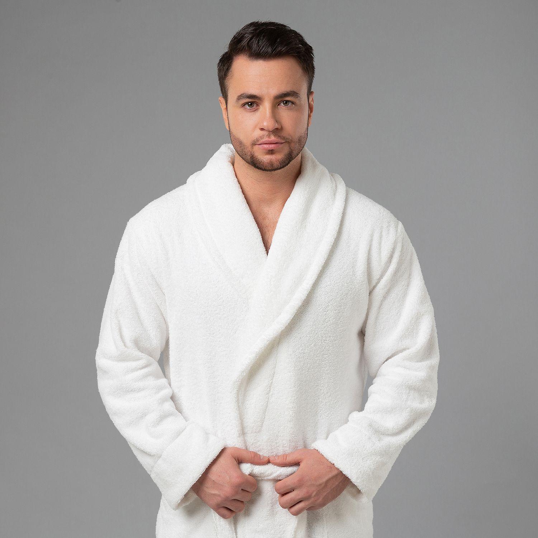 """Мужской халат с вышивкой """"Лев"""" (белый)"""
