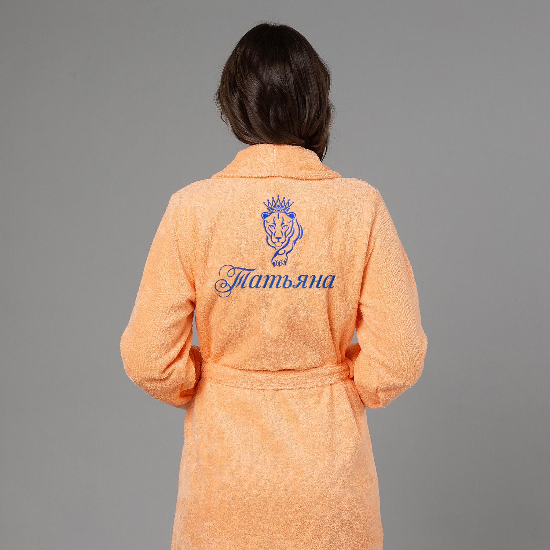 Женский халат с вышивкой Львица (Персик) женский халат с вышивкой лучшая в мире жена белый