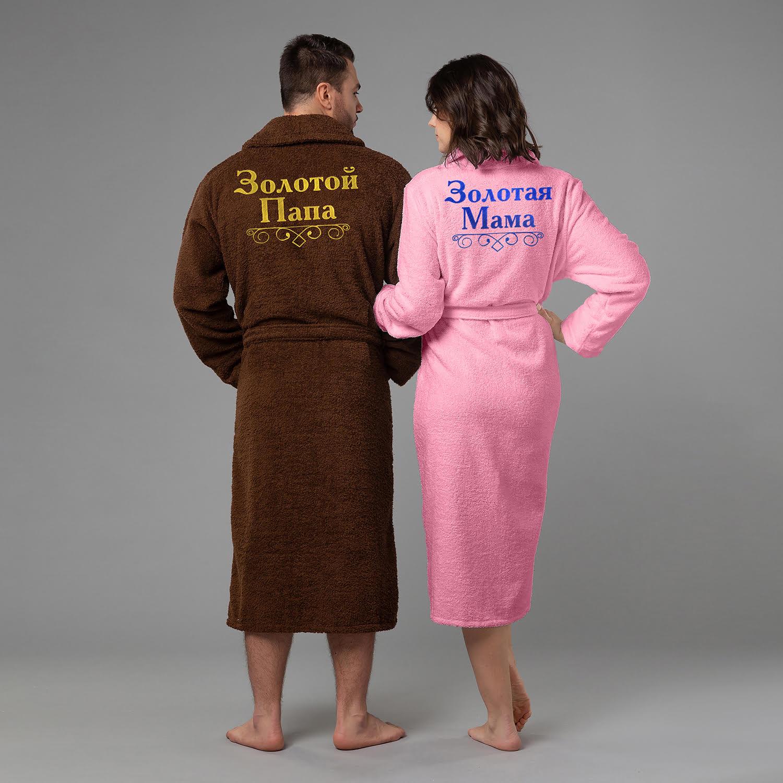 халаты Комплект халатов с вышивкой Золотые мама и папа