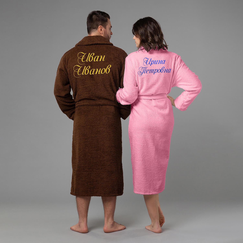 Фото - Комплект халатов с вышивкой Именной комплект халатов с вышивкой новогодний белые