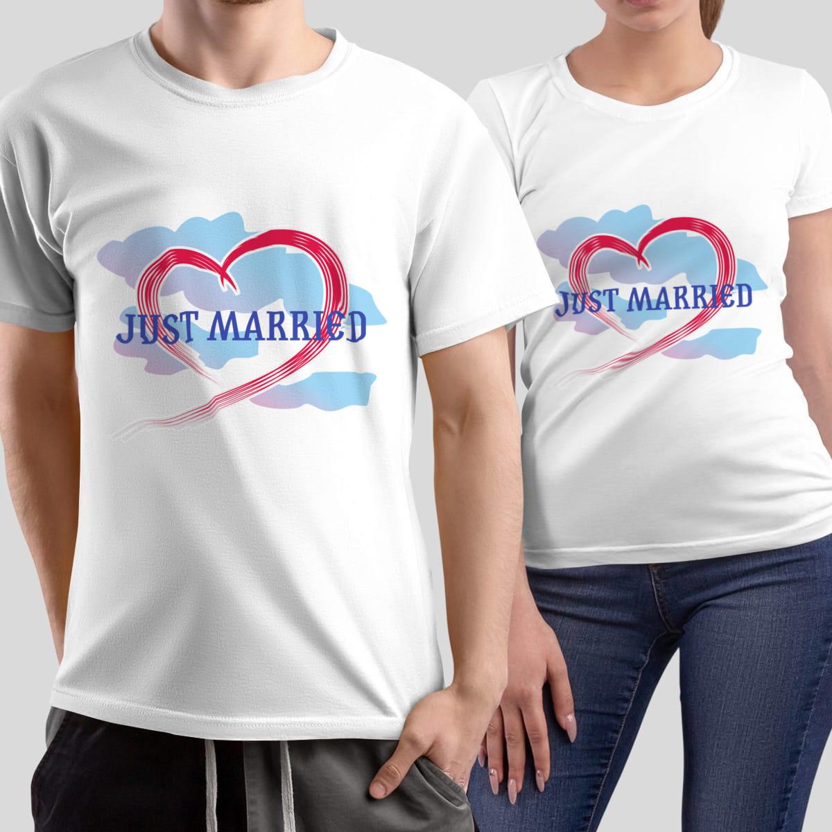 Комплект прикольных парных футболок *Just Married*