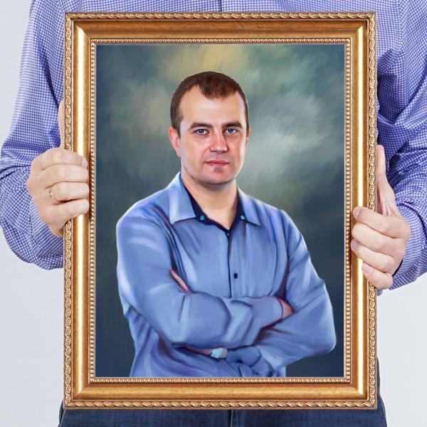 Классический мужской портрет по фото в раме