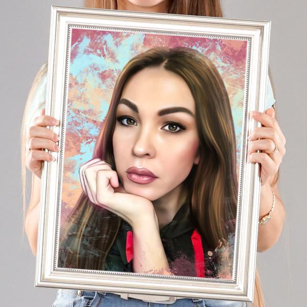 Женский портрет по фото в стиле Дрим-арт в раме