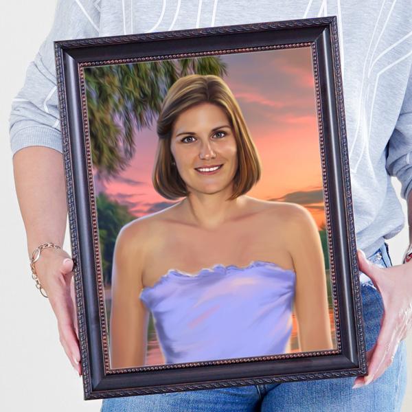 Классический женский портрет по фото в раме